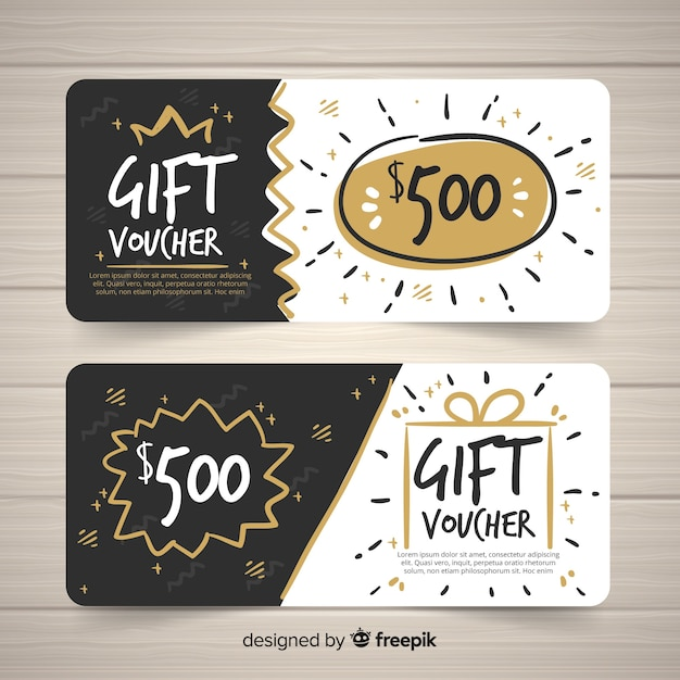 Modern hand drawn gift voucher template Free Vector