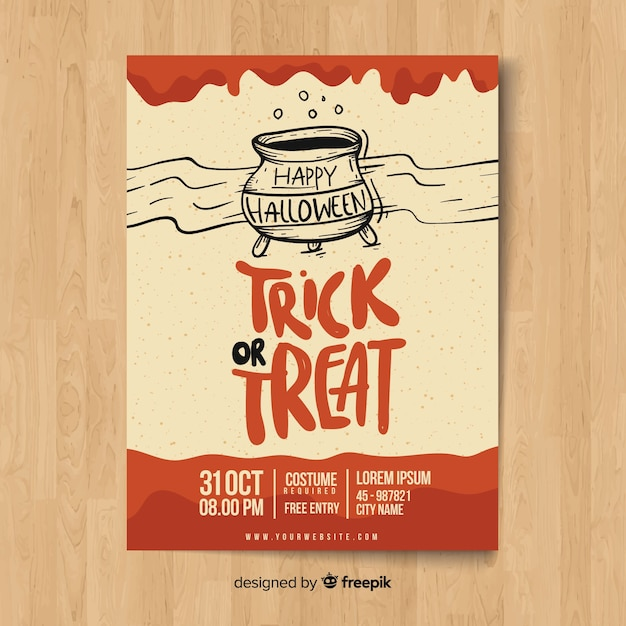 Modern hand drawn halloween party poster template Free Vector