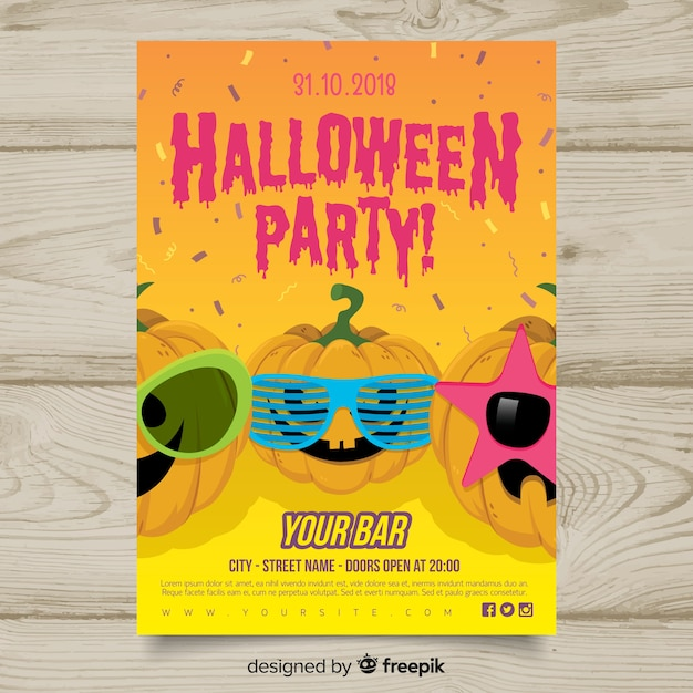 Modern hand drawn halloween party poster Free Vector