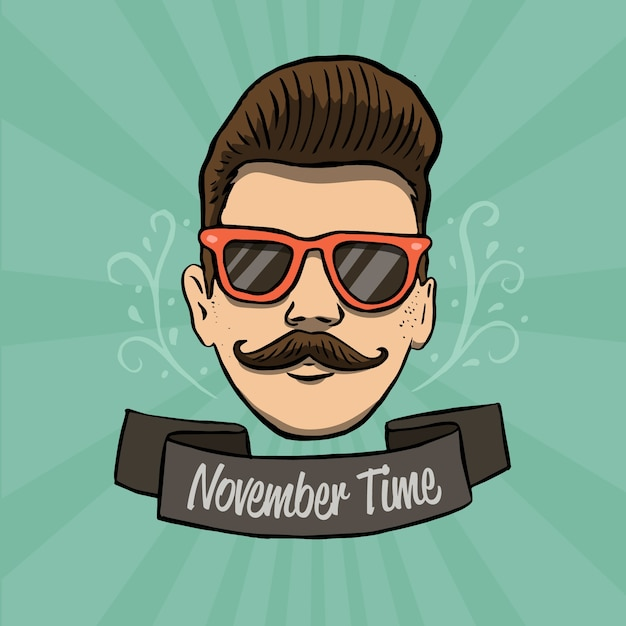 Modern hand drawn movember composition Free Vector