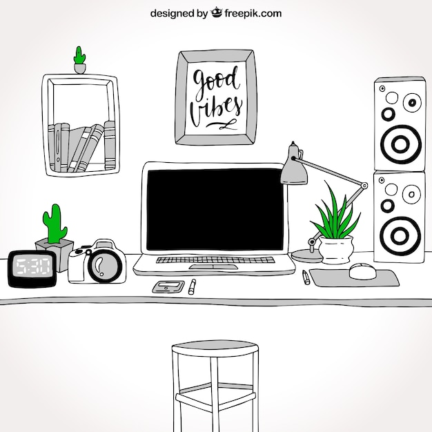 Modern Hand Drawn Office Desk Vector