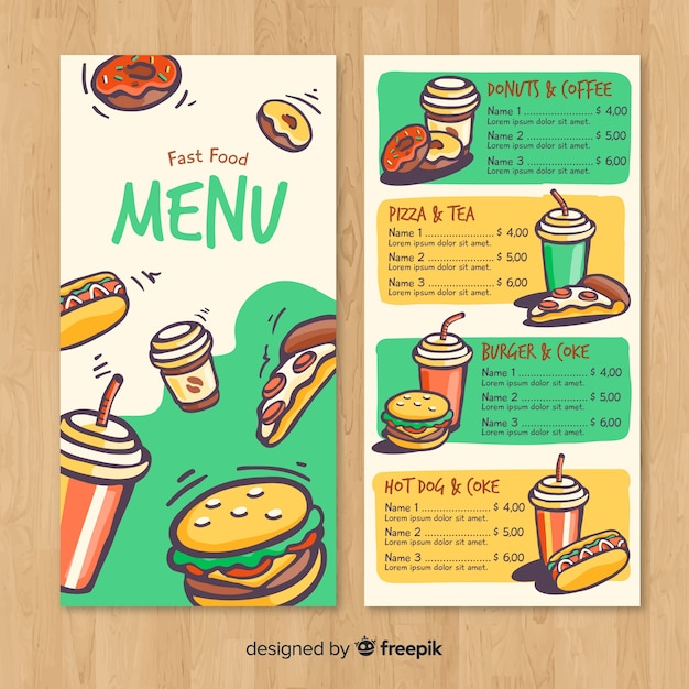 modern hand drawn restaurant menu template vector free download