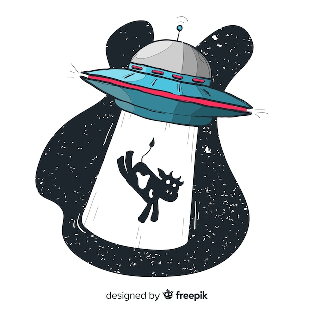 Modern hand drawn ufo abduction concept Free Vector