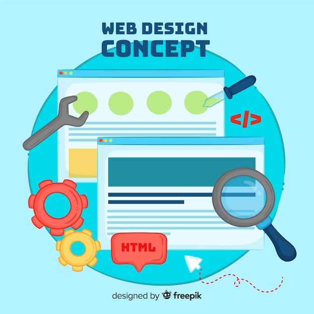 Modern hand drawn web design concept Free Vector