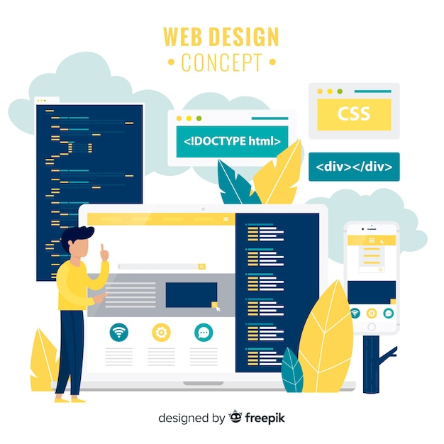 Modern hand drawn web design concept Free Vector