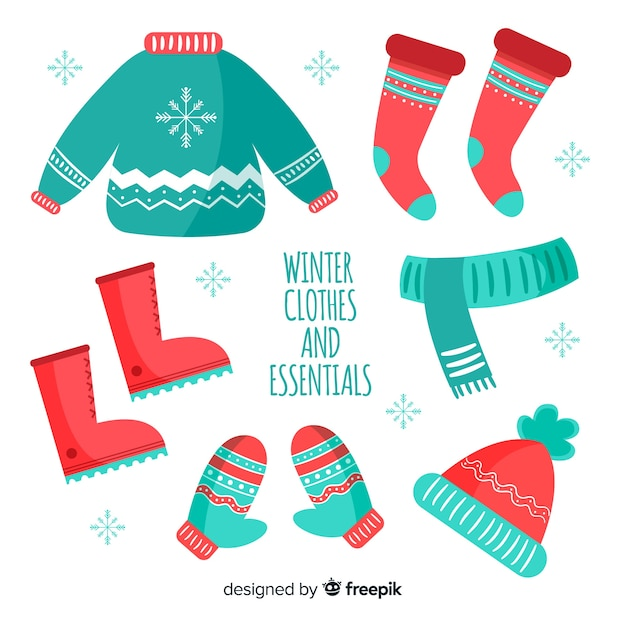 Modern hand drawn winter clothes collection Free Vector
