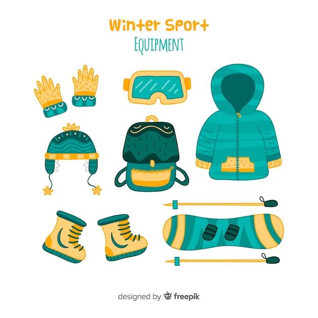 Modern hand drawn winter sport equipment Free Vector