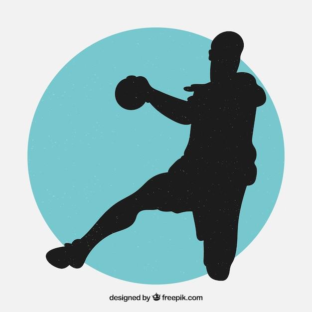 Modern handball player silhouette Free Vector
