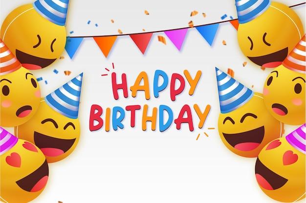 Sfondo moderno buon compleanno con emoticon Vettore gratuito