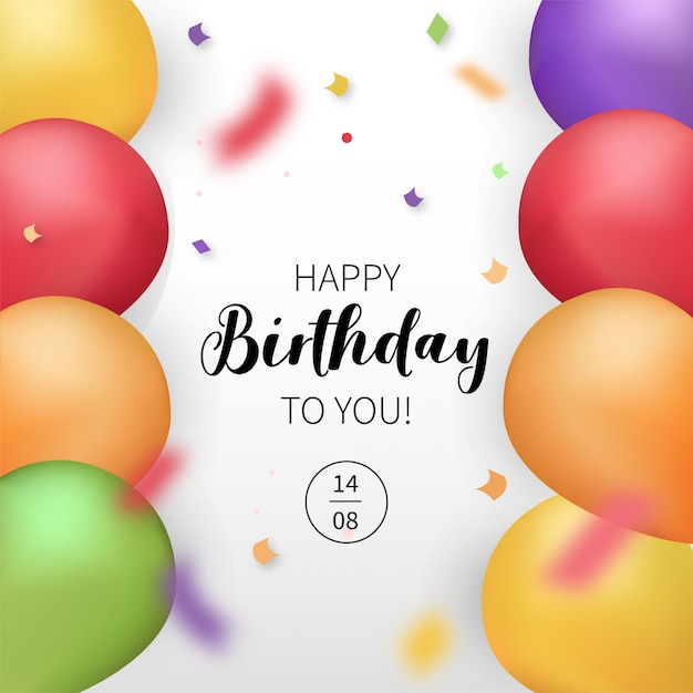 Modern happy birthday card with realistic balloons Free Vector