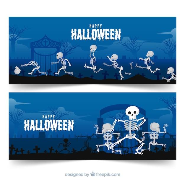 Modern happy halloween banner concept Free Vector