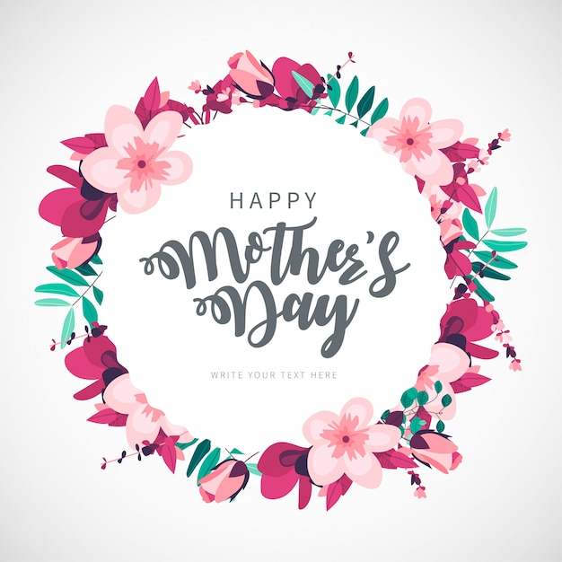 Modern happy mother's day floral background Free Vector