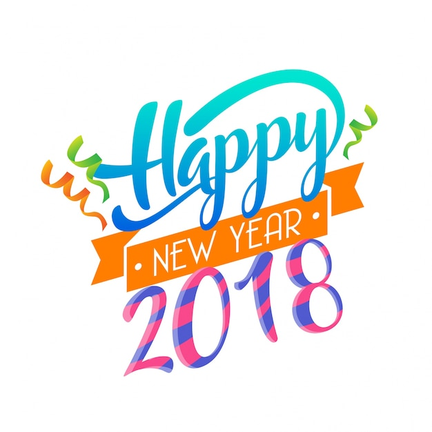 Modern Happy New Year 2018 Celebration Card Free Vector