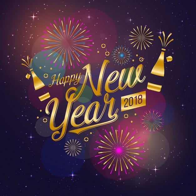 modern happy new year 2018 celebration card vector free download