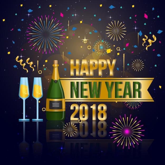 Modern Happy New Year 2018 Celebration Card Vector