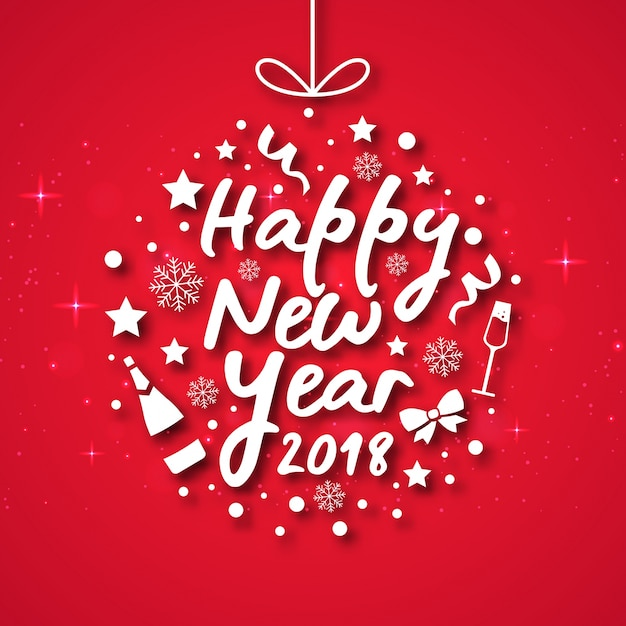 modern happy new year 2018 celebration card free vector