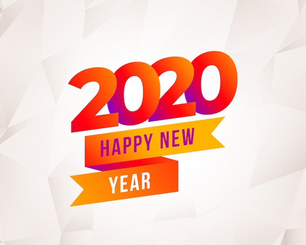 Modern happy new year 2020 colorful background Free Vector
