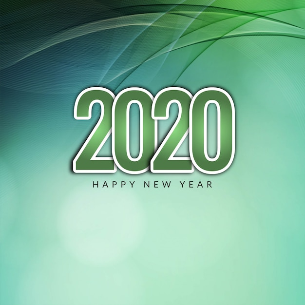 Modern happy new year 2020 wavy background Free Vector