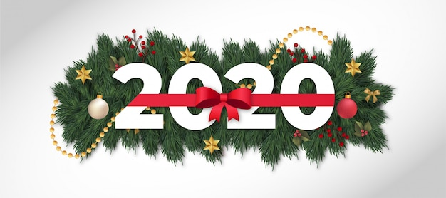 Modern happy new year 2020 with red ribbon Free Vector