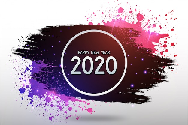 Modern happy new year background with colorful splash Free Vector