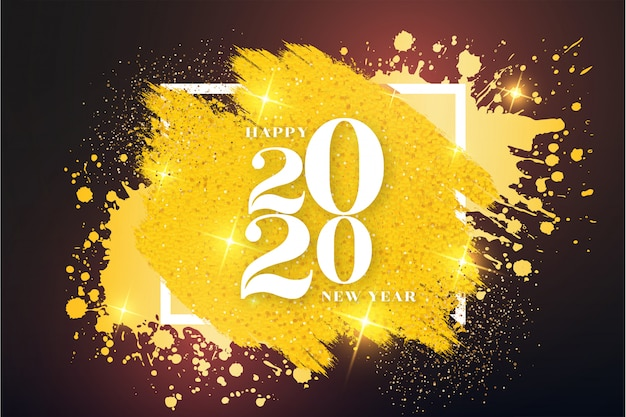Modern happy new year background with golden frame Free Vector