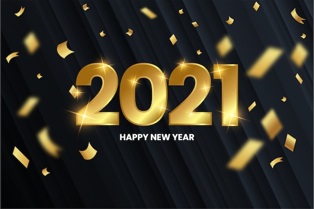 Modern happy new year background with golden numbers Free Vector