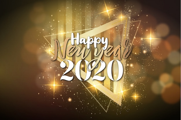 Modern happy new year background with luxury frame Free Vector