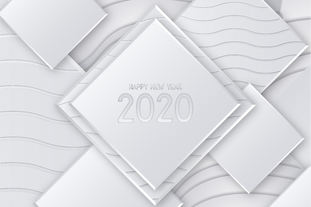 Modern happy new year card with 3d background Free Vector