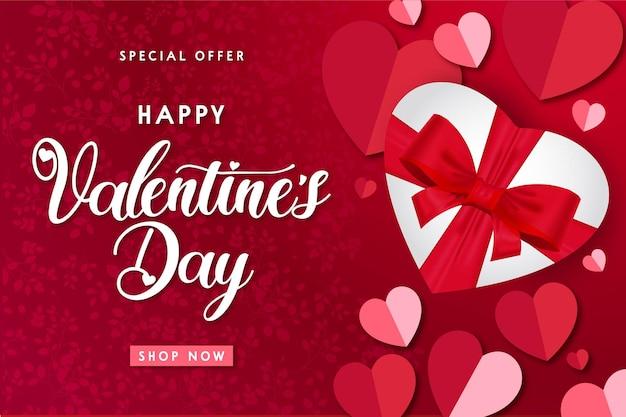 Vendita moderna di san valentino felice con regalo realistico Vettore gratuito