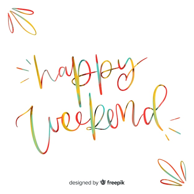 Modern happy weekend composition Free Vector