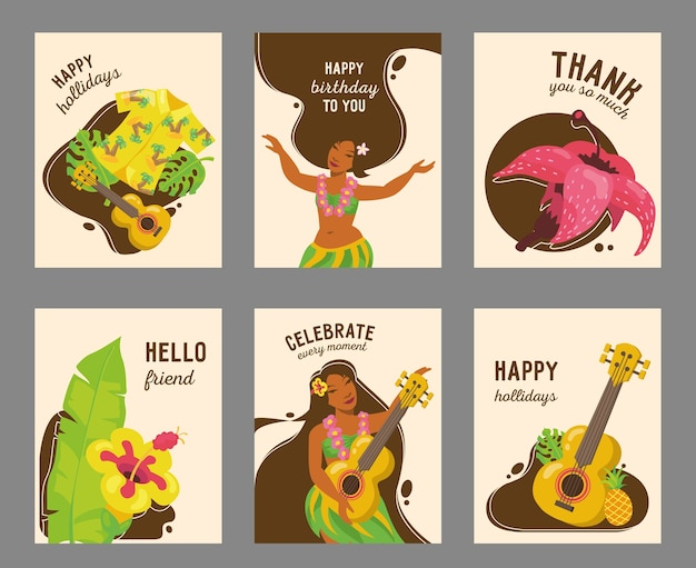 Design moderno della carta hawaiana con illustrazione. testo e elementi tradizionali delle hawaii. vacanze estive e concetto di momento felice Vettore gratuito