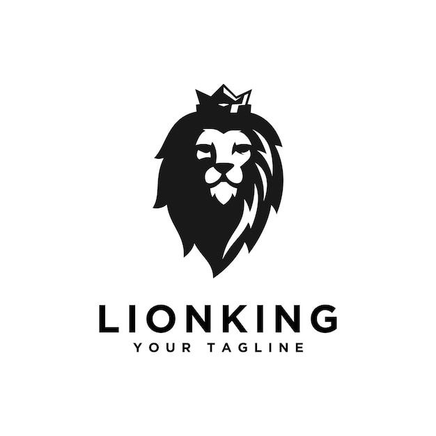 Modern head lion logo design template Premium Vector