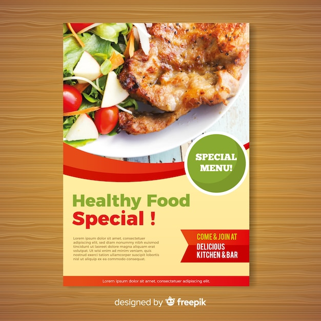 modern healthy restaurant flyer template vector free download