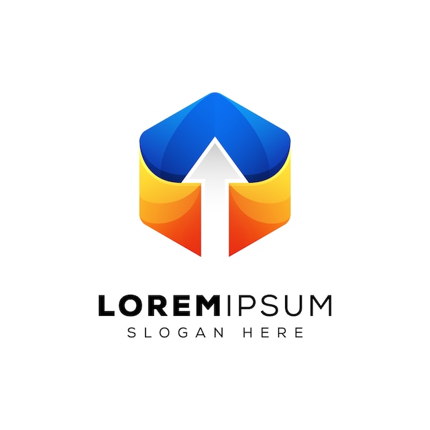 Modern hexagon arrow up logo design Premium Vector