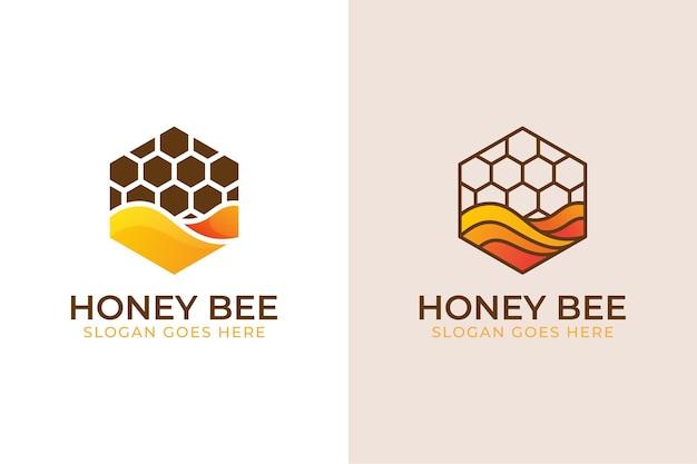 Современный шестиугольник с логотипом сладкой медоносной пчелы, медовыми этикетками, продуктами, символом сладкой еды в двух версиях Premium векторы