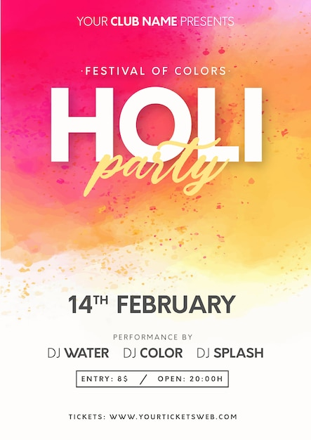 Modern holi festival of colors with splash background Free Vector