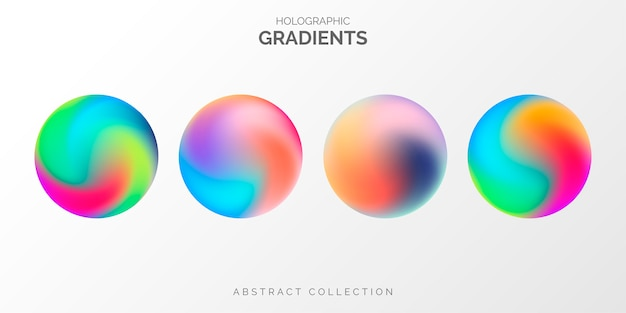 Modern holographic gradient collection Free Vector