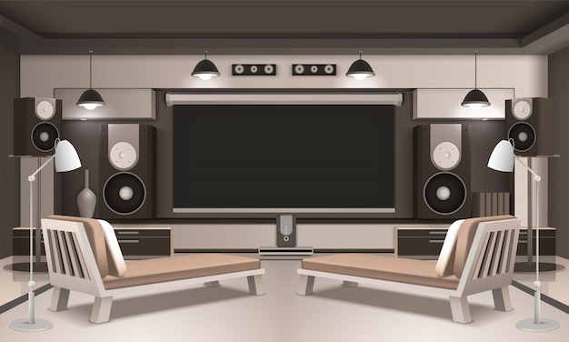Modern home cinema interior 3d design Premium Vector