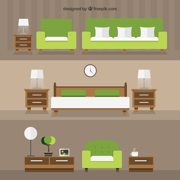 photoshop room templates - modern home furniture vector premium download