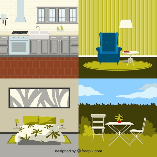 Modern home furniture Free Vector