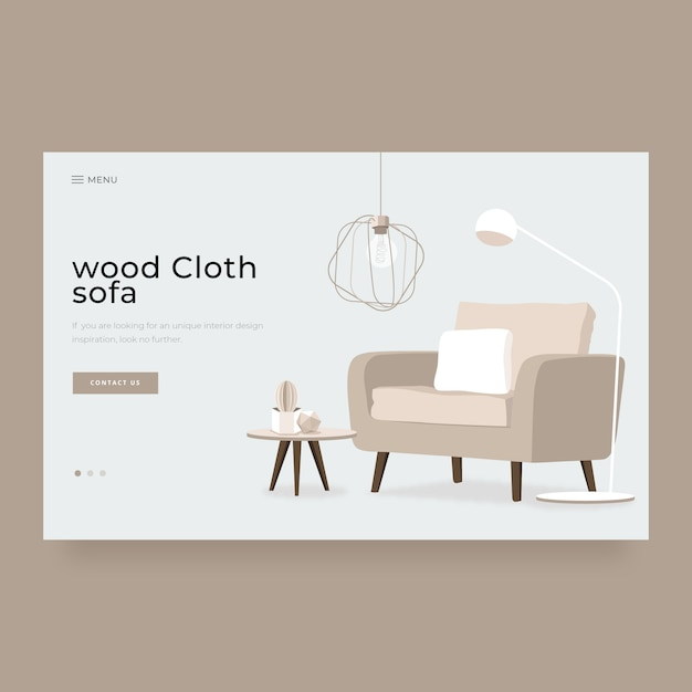Modern home interior decoration landing page Premium Vector