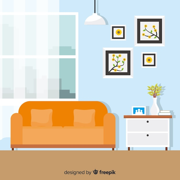 Interior Decoration With Flat Design
