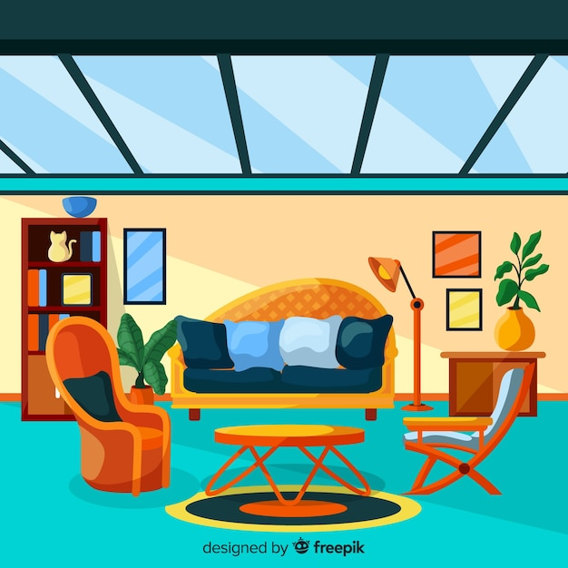 Free Vector Modern Home Interior Decoration With Flat Design