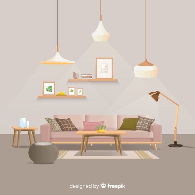 Cozy Living Room Vector Illustration: Cozy Room Vectors, Photos And PSD Files