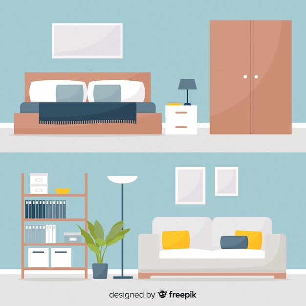 Modern Home Interior Decoration With Flat Design Free Vector