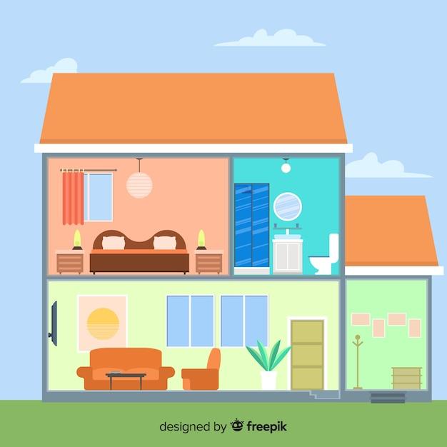 Interno della casa moderna con design piatto Vettore gratuito