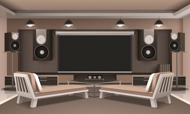 Modern home theater interior Free Vector