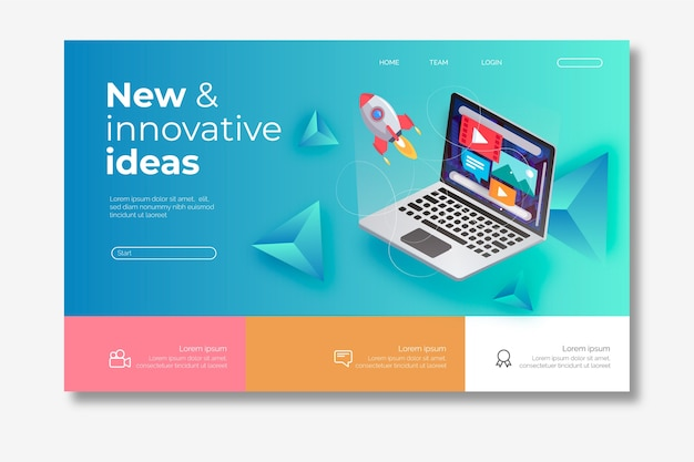 Modern homepage with isometric laptop Free Vector