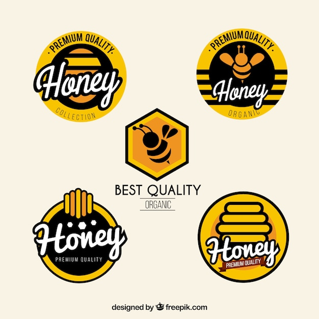 Modern honey labels set Free Vector