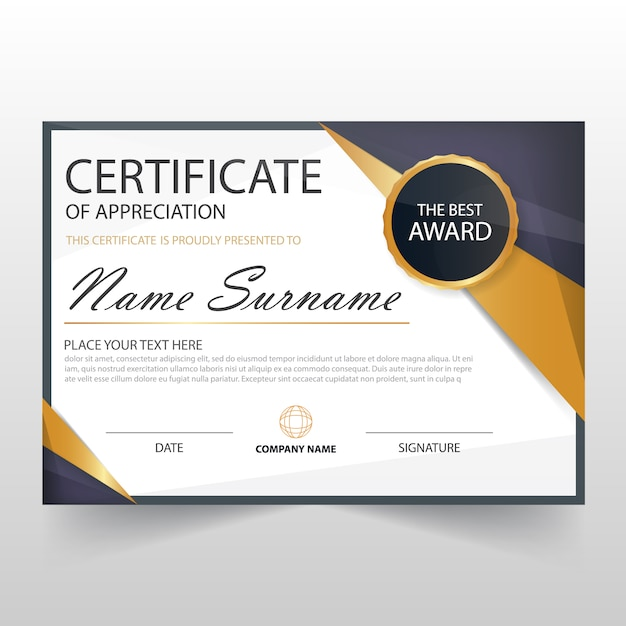 Modern horizontal certificate template